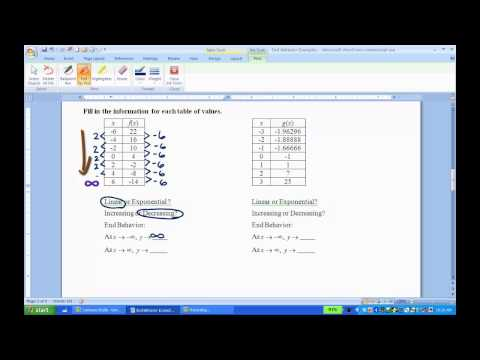 End Behavior of Linear and Exponential Functions