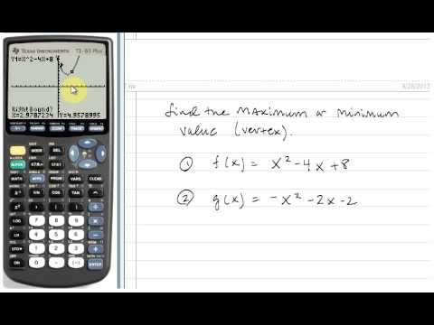 Finding the Vertex/Maximum/Minimum of a Quadratic Function using the TI83/84