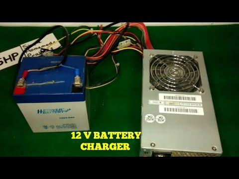 HOW TO MAKE A 12 V BATTERY CHARGER WITH PC POWER SUPPLY