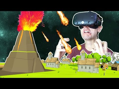 CAUSING VOLCANIC APOCALYPSES AND GIANT BATTLES AS A GOD IN VR! - DEISIM VR HTC VIVE Gameplay