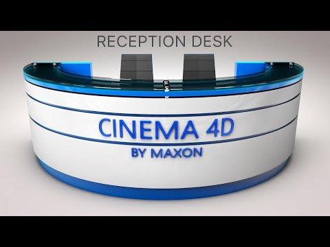 C4D Tutorial - How To Make Reception Desk Modeling