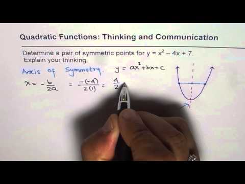 How to Find Symmetric Points From Standard Quadratic Equation