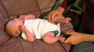 One-month-old demonstrates newborn reflexes