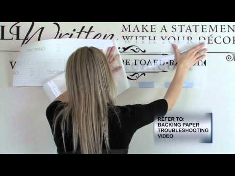 How to Apply Vinyl Wall Quotes - Video 3B: Hinge Application Method