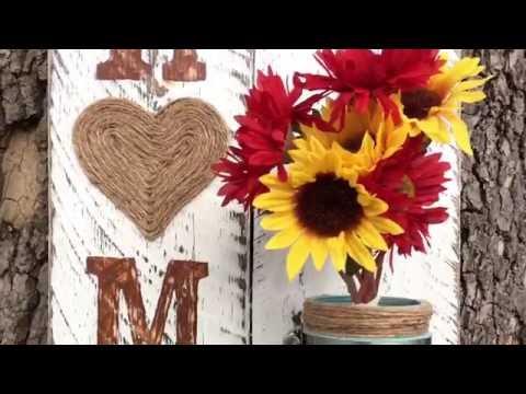 DIY Mason Jar Flower Vase, Home Decor Pallet Wood Sign