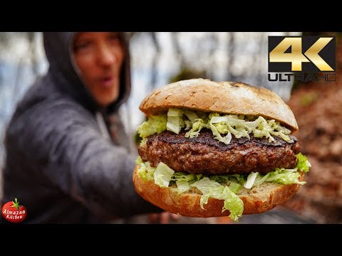 5 POUND PIZZA BURGER! - UNUSUAL COOKING 4K