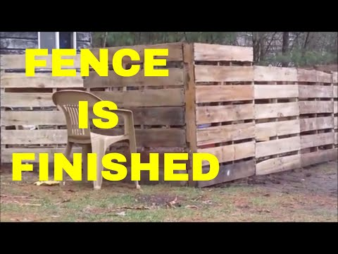 reused pallet fence finished