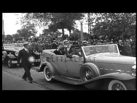 US President Herbert Hoover campaigns in  Des Moines Iowa, United States. HD Stock Footage