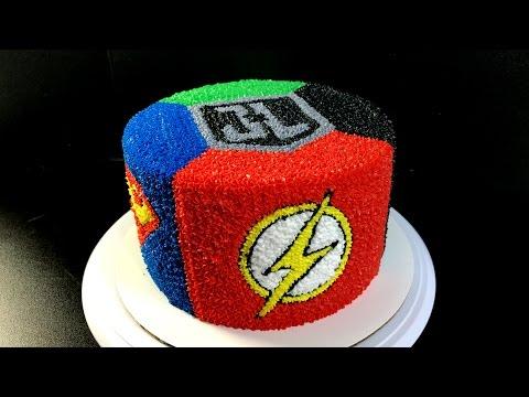 Justice League Buttercream Cake - (Batman, The Flash, Superman, Green Lantern)