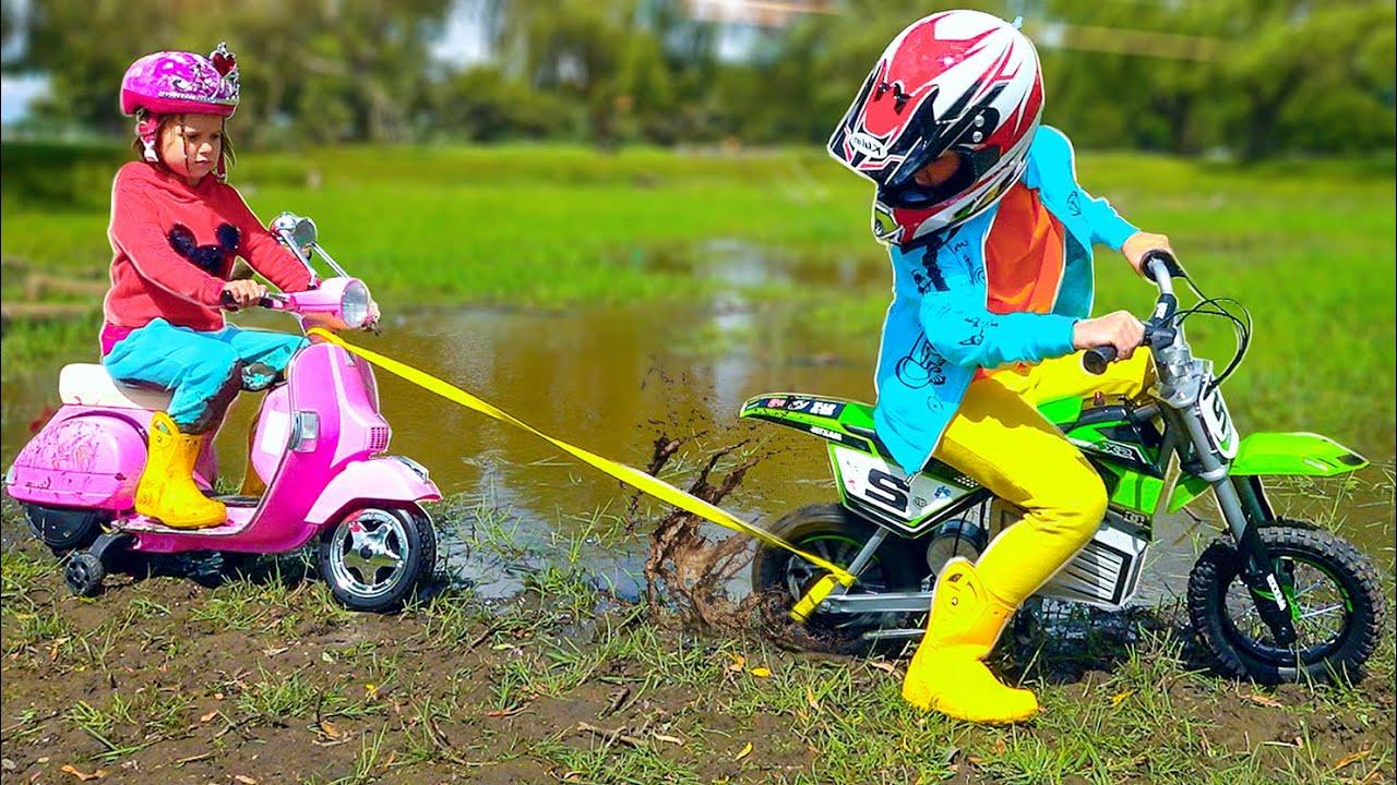 Katy little driver on her motorbikes