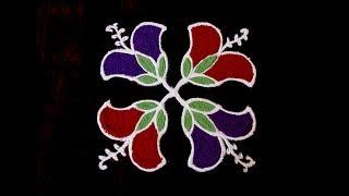 Daily Rangoli Designs For Beginners 8x8 Dots Flower Rangoli
