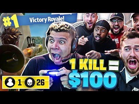 1 KILL = $100 FORTNITE CHALLENGE W/ TEAM ALBOE AND WOLFIE!! Fortnite: Battle Royale! *HILARIOUS*