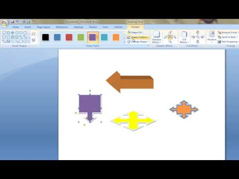 How to insert Different Block Arrows in MS Word