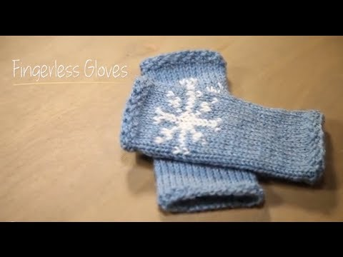 Knit Fingerless Snowflake Gloves with pattern | 1 Hour Project Knitting Tutorial with Stefanie Japel