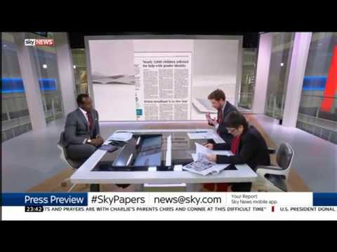 Part of SkyNews press preview on 28th July 2017