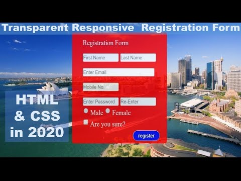 how to create  Registration form with transparent background in html and css
