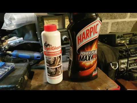 Channel update: Cleaning exhaust headers. Harpic PowerPlus, Optiglanz, Bilt Hamber