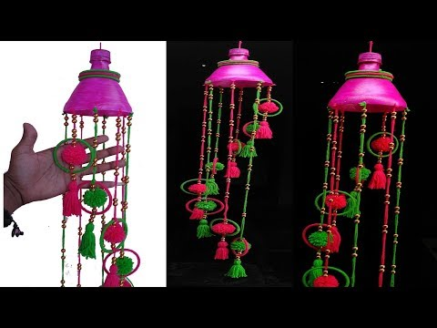 DIY, Plastic Bottle Wall Hanging wind chime Recycled bottle  wall hanging, wind chimes with waste