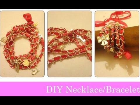 DIY Ribbon Chain Necklace/ Bracelets SUPER EASY IN 1 MIN!