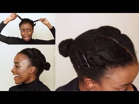 EASY LOW BUN WITH TWO STRAND TWIST PERFECT FOR SHORT NATURAL HAIR