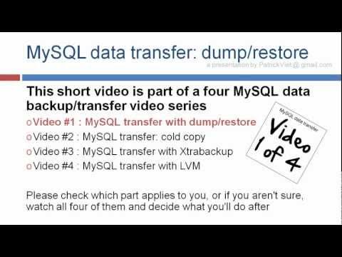 MySQL mysqldump , dump and restore howto tutorial
