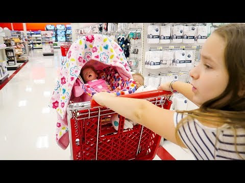 Shopping With Reborn Baby Doll Twins Olivia and Oliver for Christmas Twin Reborns Shopping  Haul