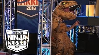 A T-Rex Dinosaur Crashes The American Ninja Warrior Course | American Ninja Warrior