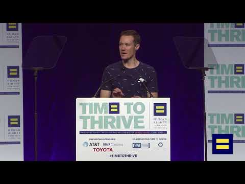 Chris Mosier Addresses the Crowd at Time to Thrive LGBTQ Youth Conference