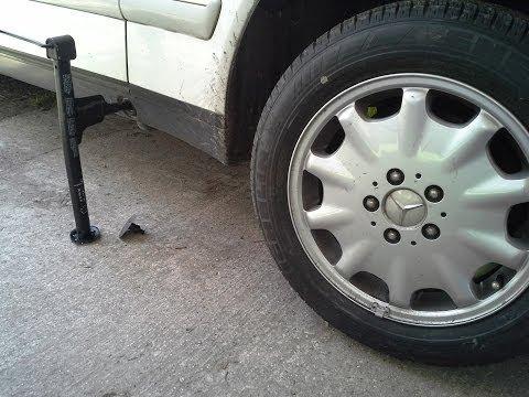 How to use a Mercedes E320 E430 Tire Jack