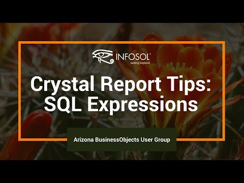 Crystal Report Tips - SQL Expressions
