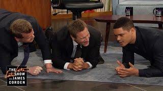 Aaron Eckhart, Trevor Noah & James Get Physical