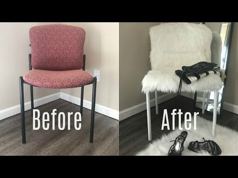 DIY FUR CHAIR UPCYCLE | $1 THRIFT STORE DIY