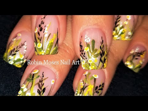 Spring Wild Flower Nail Art Design | Easy step by step Hand Painted Nails