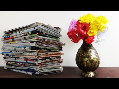 How to Make Paper Flower Pot | News Paper Craft | Crafts Junction