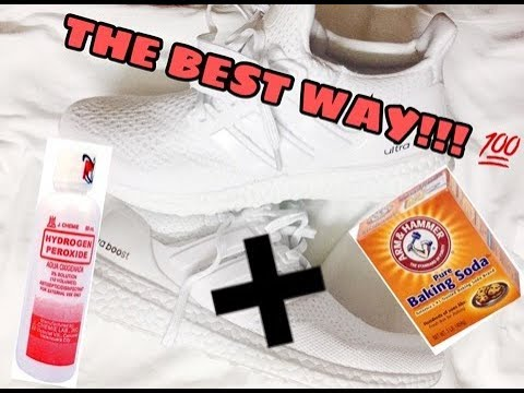 Best way to clean white shoes (HYDROGEN PEROXIDE + BAKING SODA) | Twenty A's
