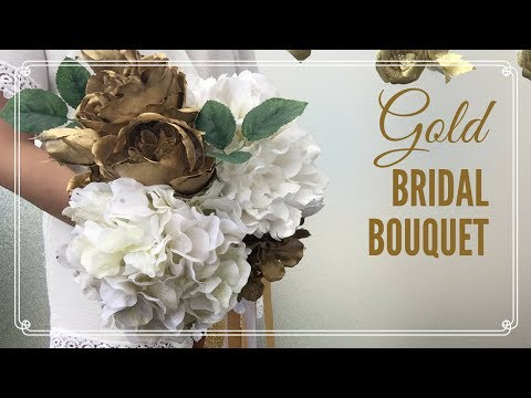 DIY Wedding: GOLD BRIDAL BOUQUETS tutorial || great for destination weddings