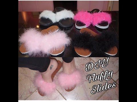 DIY : Fluffy  Slides / Sandals for under $10