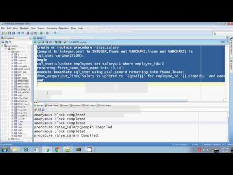 Oracle execute immediate dynamic sql procedure in and out parameters Part 7
