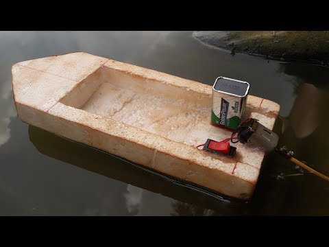 How To Make An Electric Motor Boat Using Foam And DC Motor