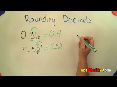 Rounding up decimal numbers math video tutorial, 4th to 7th grades