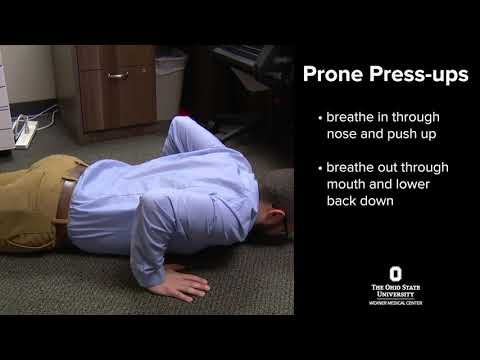 Exercises to prevent back pain: prone press-ups