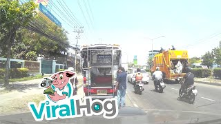 Close Call for Motorcyclist in Thailand || ViralHog
