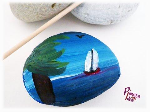 Rock Painting Ideas - Dipingere sui Sassi un Paesaggio Marino!