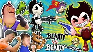 BENDY & THE INK MACHINE GUNS vs. HELLO NEIGHBOR, FGTEEV, AMAZING FROG, TATTLETAIL & FNAF Garry