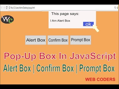 How To Create Pop-up box Using JavaScript | Alert Box, Confirm Box,Prompt Box