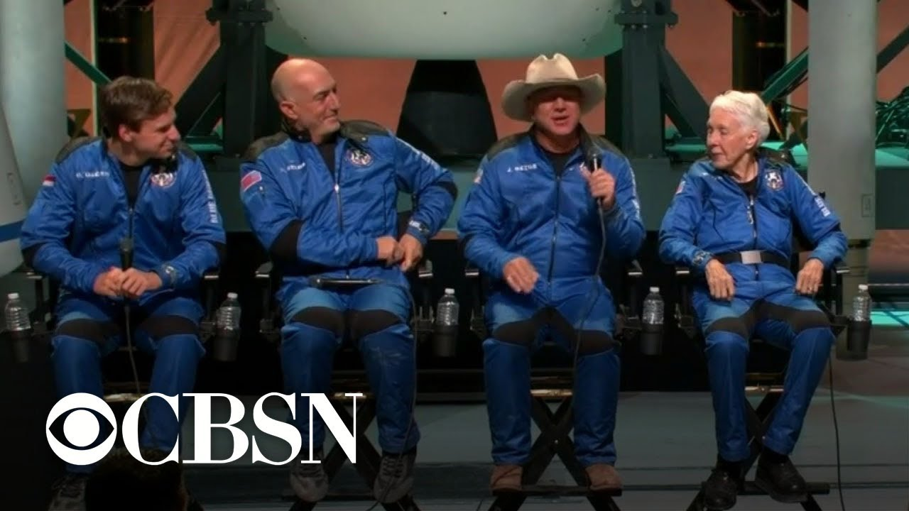 """How it felt? Oh my God!"": Jeff Bezos and Blue Origin crew speak after spaceflight"