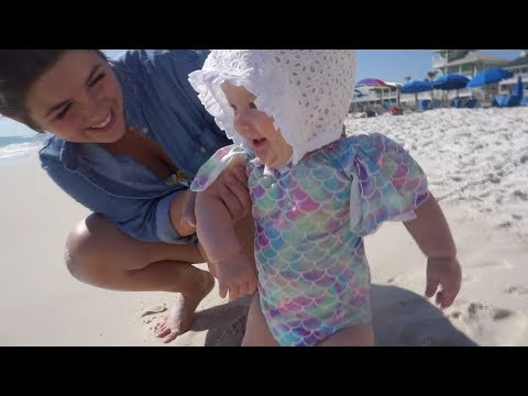 Baby Ruby's first time on the beach!