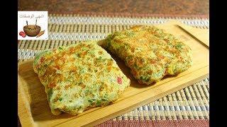 فطور صباحي سهل وسريع في دقائق /اومليت البيض بالتوست والخضار والجبنة روووعة