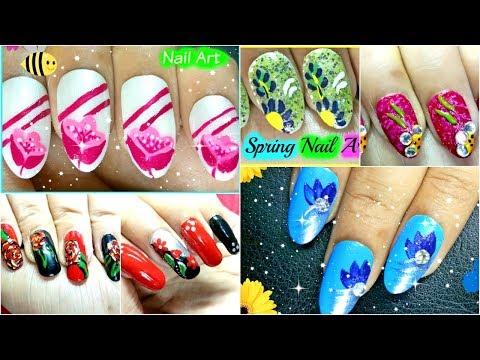 Multiple Flower Nail Art Tutorial Step By Step