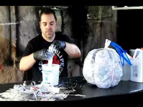 Applying paper mache -- Part 2 of 8 - Paper Mache Pumpkin Head How-to